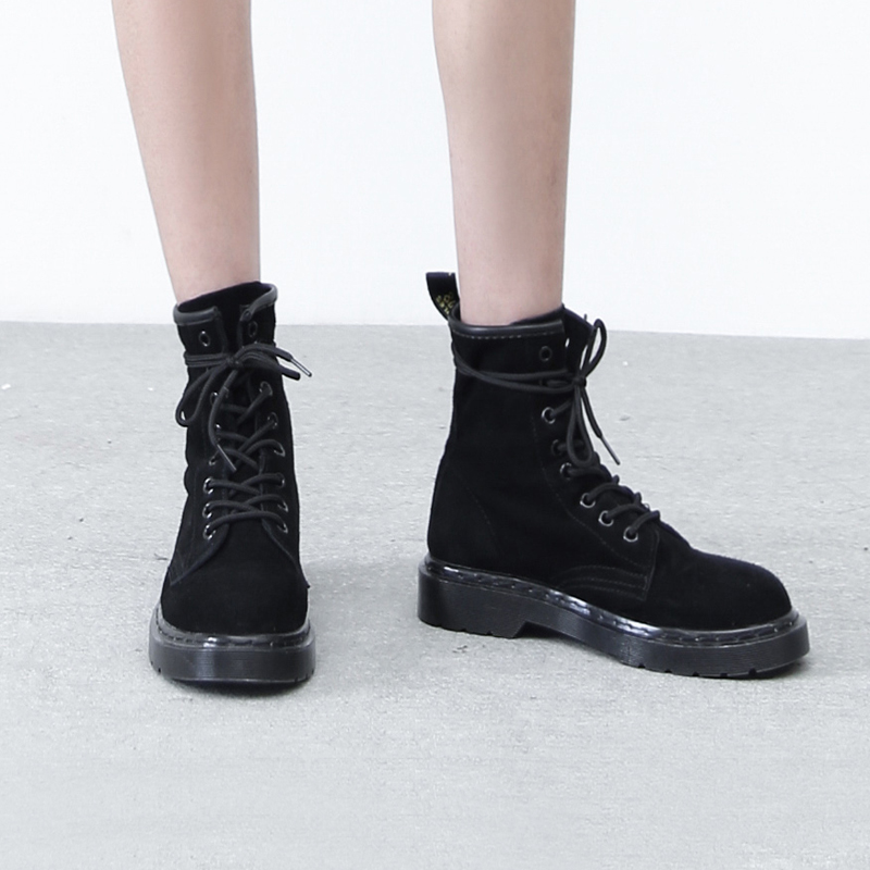 【ИМЕЮТ РИСОВЫЕ рис дом 】 это обувь очень дикий простой красивый чёрный матовый натуральная кожа мартин сапоги