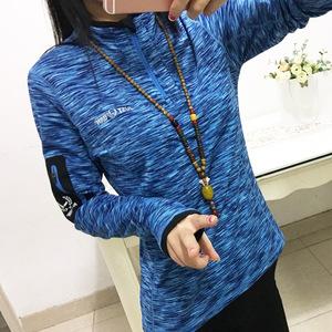 秋冬速干衣加絨長袖T恤女快干衣彈力健身衣顯瘦韓國大碼跑步外套