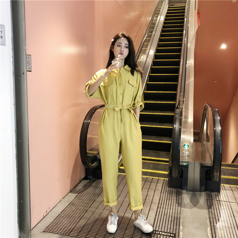 Package mail 2020 summer short sleeve Jumpsuit solid color workwear suit