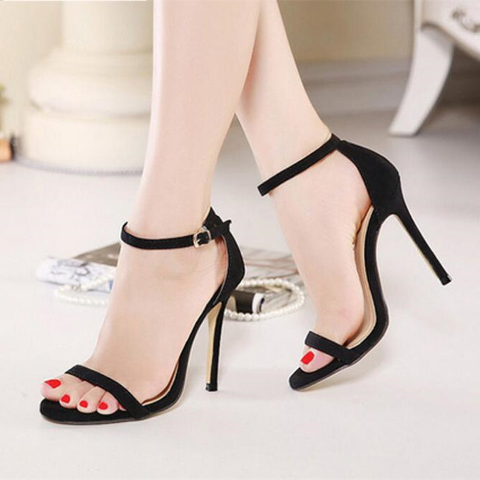 2019 new black open toe button sandals with thin heels