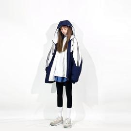 松本丧丧时髦拼接棉服外套女2020秋冬新款韩版宽松运动风连帽棉衣图片