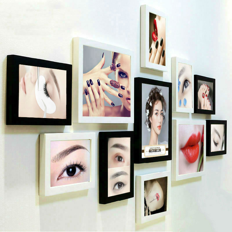 Korean semi permanent poster Eyebrow Eye Lip beauty salon hole free decorative picture frame hanging picture pattern X embroidery nail enhancement photo