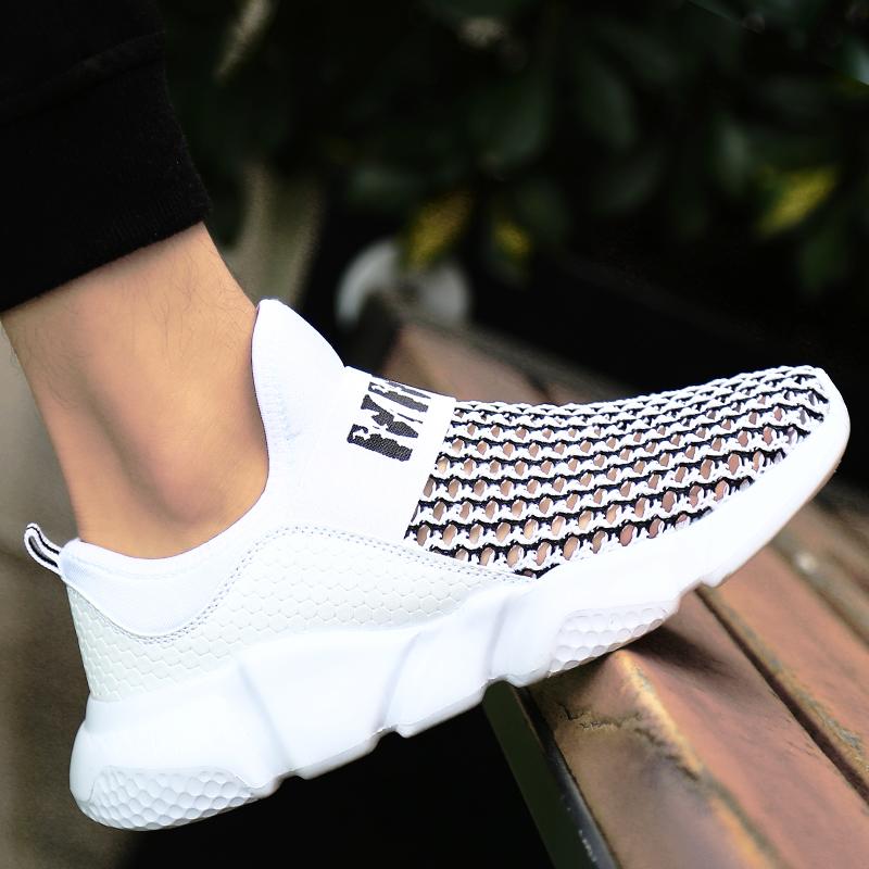 男鞋夏季潮鞋新款白鞋男士透气网鞋网面运动内增高休闲旅游跑步鞋