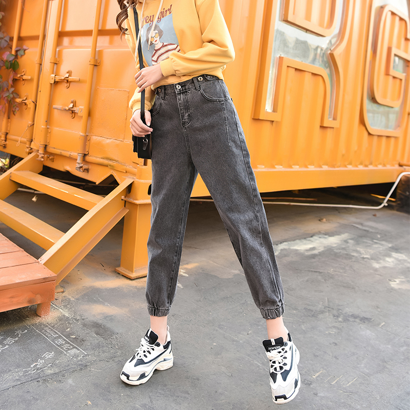 Ash net red elastic high waisted dad jeans wide leg pants womens new Korean loose and thin hemmed radish pants