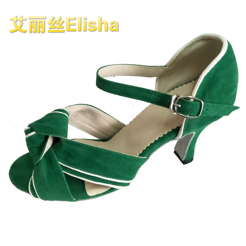 Fall / winter 2020 large size womens soft sole Latin dance shoes childrens Suede training performance cowhide antiskid customized heel