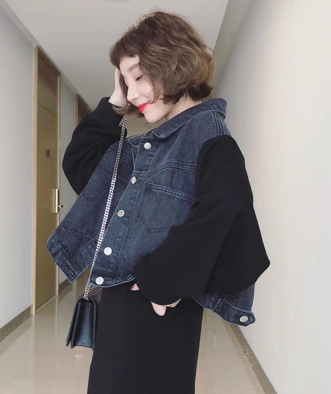 欧州站2018秋季新品韩味十足短款袖子拼接A字版水洗牛仔短外套女