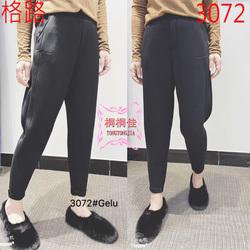 格路3072女裤81065秋冬新款时尚显瘦弹力休闲裤太空棉萝卜裤长裤