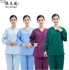 Phụ nữ giặt quần áo cotton dài tay áo quần áo bác sĩ nha khoa bàn chải tay phục vụ các bác sĩ áo trắng quần áo Nam