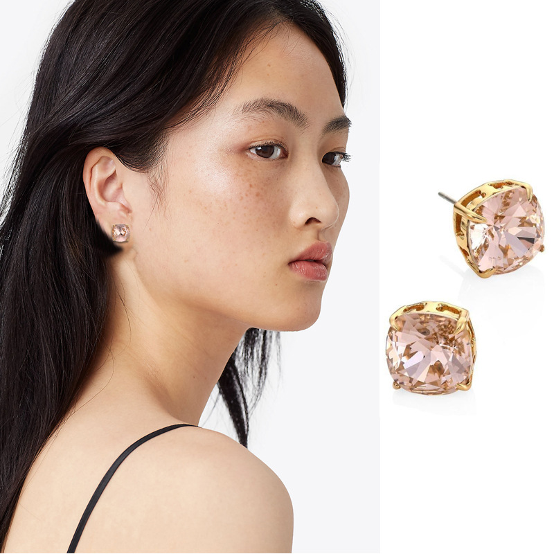 Gold stud pink rose square crystal Zircon Earrings for womens simple and shining European and American style TB new products
