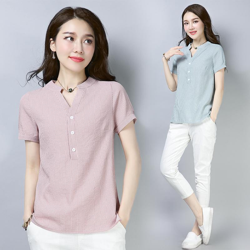2018夏季新款棉麻短袖T恤女装衬衫遮肚子显瘦胖MM大码宽松上衣潮