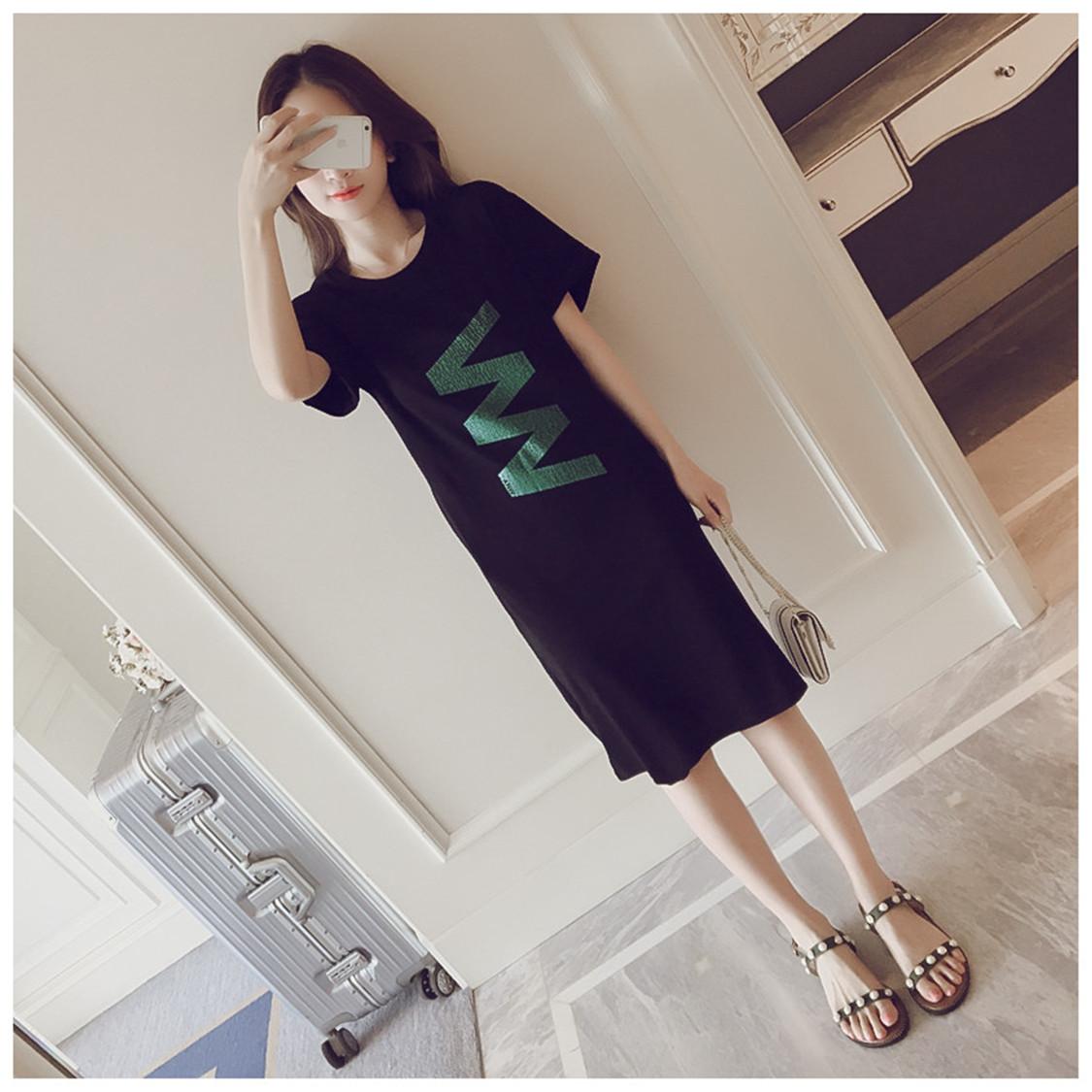 2018夏装韩版宽松休闲百搭短袖纯棉连衣裙女中长款大码插袋T恤裙
