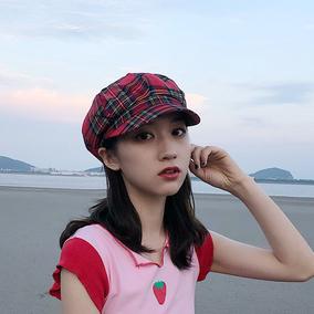 百搭潮日系格子夏季八角帽