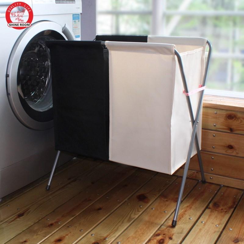 双格大号脏衣篮折叠脏衣篓洗衣篮带盖装衣脏衣服收纳筐滑轮牛津布