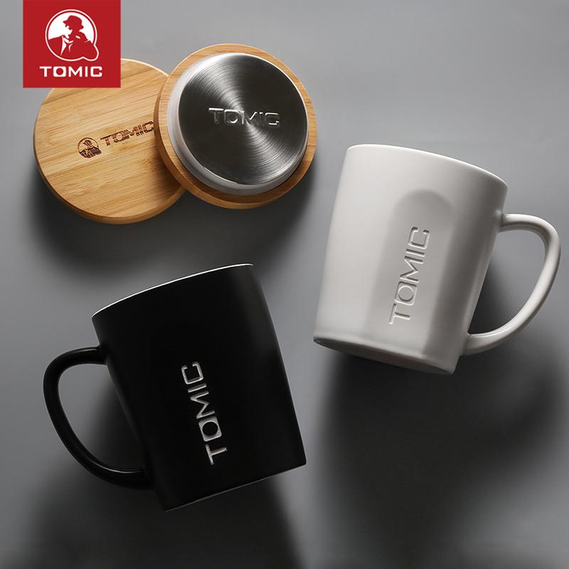 特美刻情侣水杯陶瓷杯一对北欧马克杯早餐杯牛奶杯子带盖勺咖啡杯