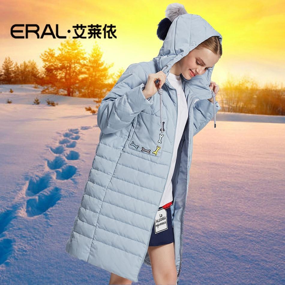 艾莱依品牌专柜正品女装大码轻薄保暖中长款羽绒服反季清仓特价