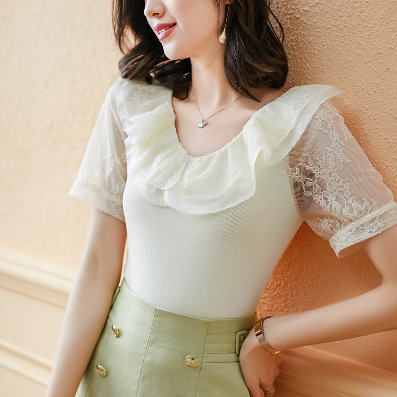 Summer new V-neck Ruffle lace stitching lace embroidery ice silk sweater womens solid short sleeve slim top