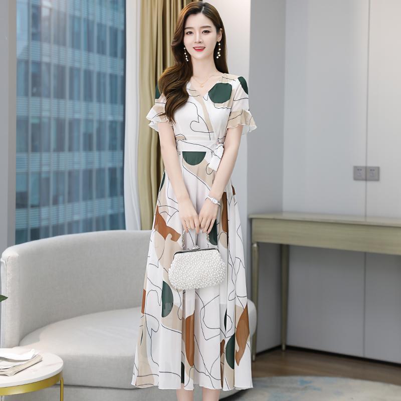 实拍3091#2021夏季新款短袖印花雪纺连衣裙过膝显瘦流行中长款裙