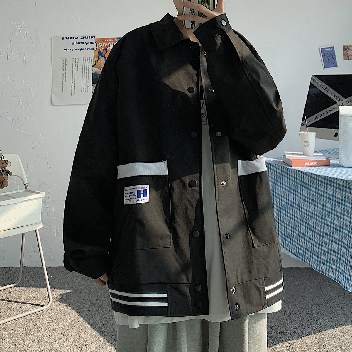 2021秋情侣装男校服大翻领夹克宽松撞色贴标夹克 JK16918/P55