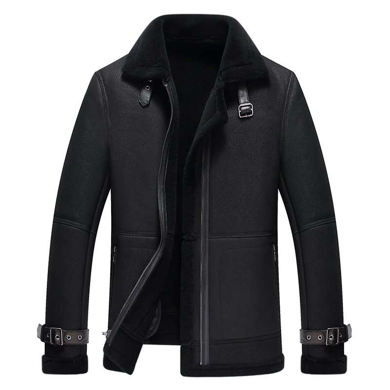Winter new fur one mens leather lapel jacket air force flying suit mens wool thickened fur coat