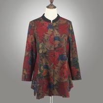 时尚洋气中老年女装春秋风衣外套长袖加肥加大码矮胖妈妈秋装上衣