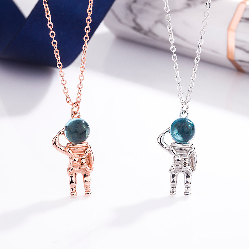 S925 Sterling Silver Moonstone space astronaut Necklace New Creative niche design net red clavicle chain Korean female