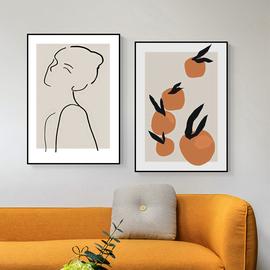 ins北欧风文艺小清新装饰画 复古小众抽象线条简笔人物橘子挂画