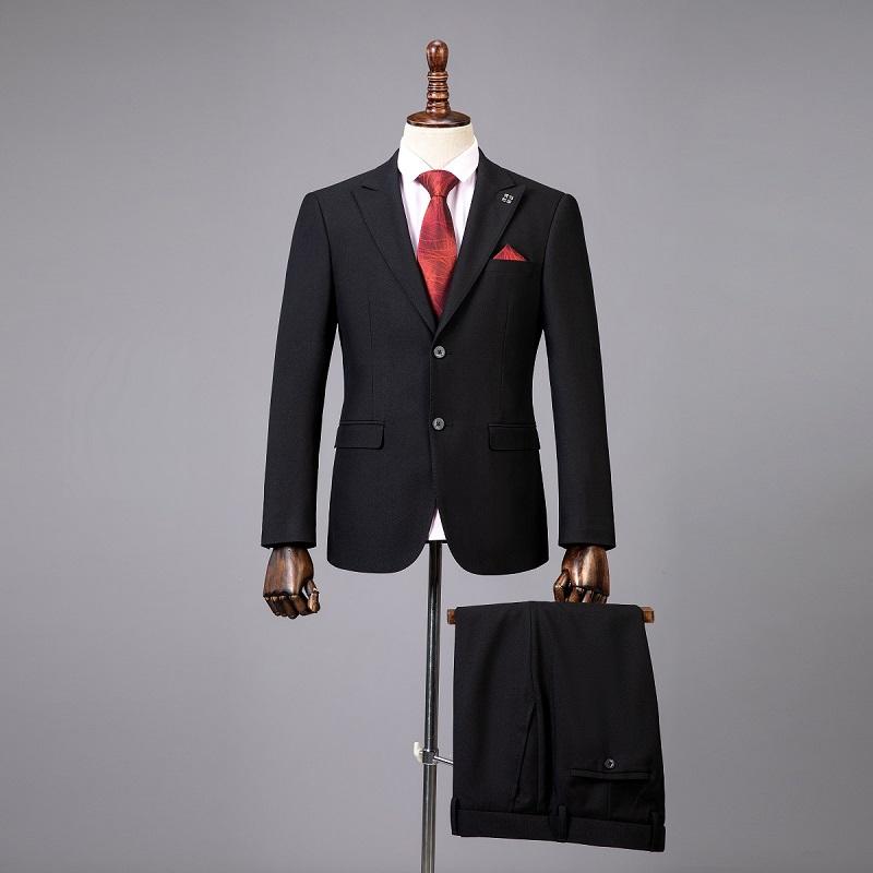 量身定制西服男2020新款纯黑色修身版新郎结婚礼服西装套装三件套
