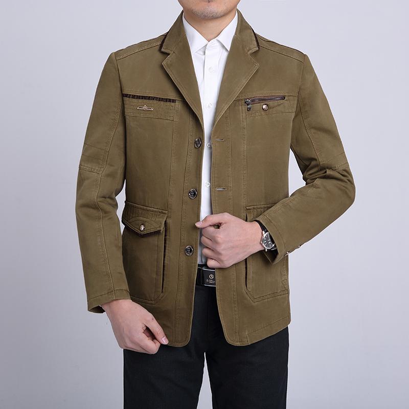 【天天特价】秋装新款男士修身夹克韩版修身全棉西服中年西装外套