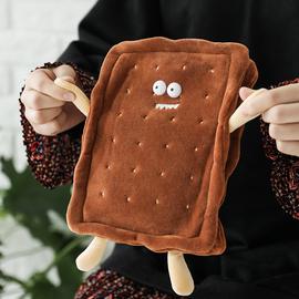 杂啊 饼干创意可爱pvc毛绒套热水袋暖肚子卡通可拆卸注水式暖手袋