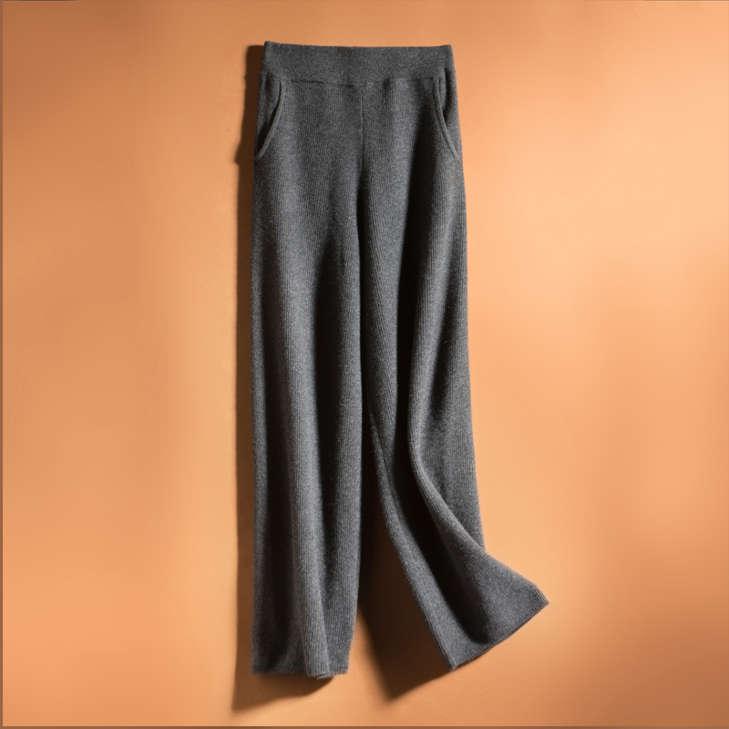 Fall feeling straight tube wool knitted wide leg pants in autumn and winter