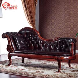欧式贵妃榻美人躺椅实木真皮贵妃椅卧室新古典沙发椅懒人美式沙发