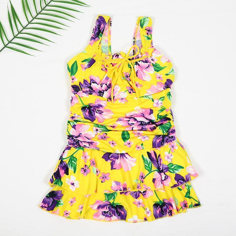 时尚少女小清新游泳衣显瘦泳衣女分体性感。温泉比基尼裙式加大码