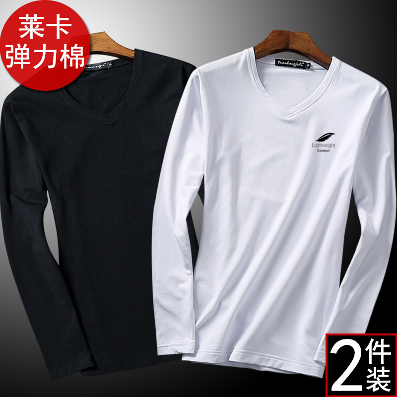 2件)男士长袖男t恤长袖潮流v领纯棉秋季修身韩版纯色加绒打底衫