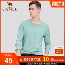 骆驼 男装2020秋季新款纯棉长袖t恤男士圆领纯色体恤打底衫上衣服