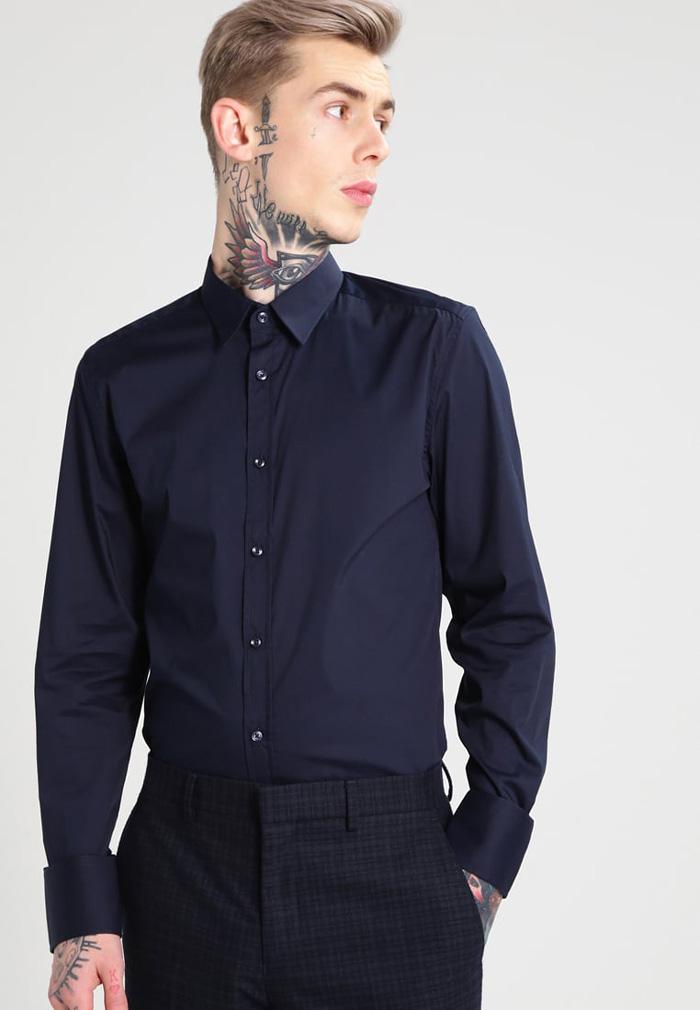 男士正装长袖衬衫棉纯色修身防皱休闲潮牌衬衫衬衣AntonyMorato