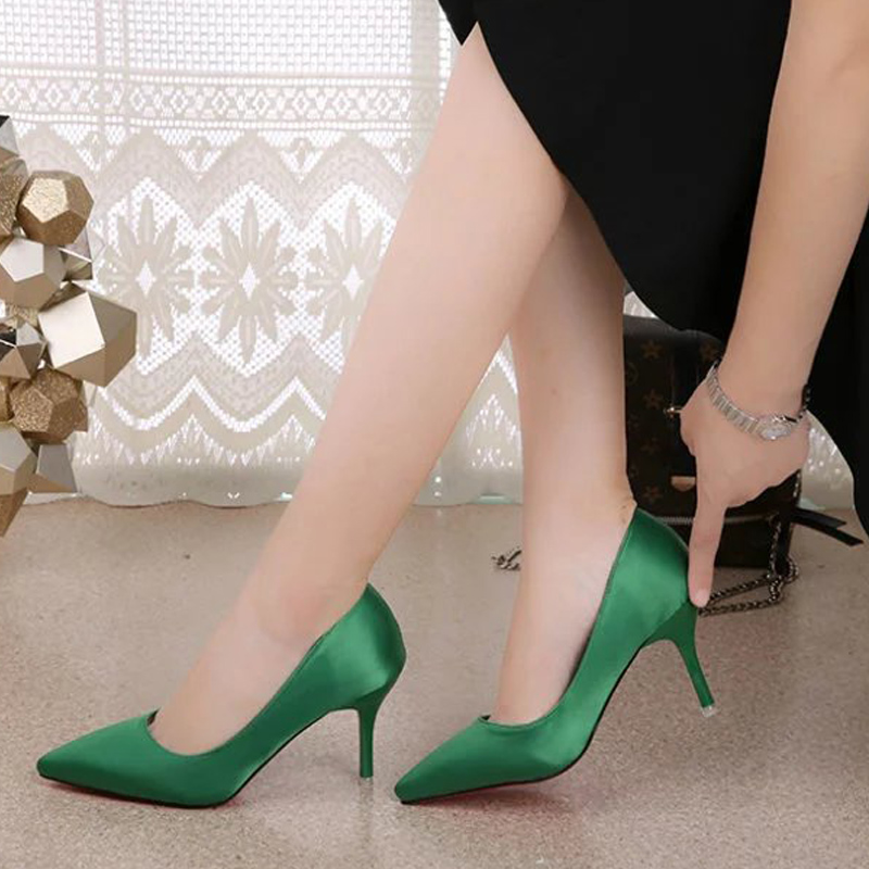 Sexy red high heeled shoes bridal shoes wedding shoes real silk satin single shoes pointed womens shoes thin heels womens shoes green