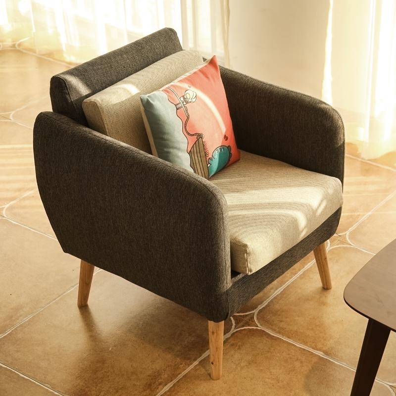北欧单人沙发椅皮布艺咖啡双人小沙发休闲椅客厅三人懒人沙发椅