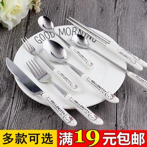韩式可爱卡通陶瓷西餐刀叉 咖啡勺冰勺子筷子 水果叉子不锈钢餐具