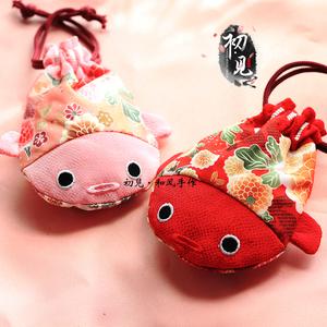 【初见】和风布艺日式手工束口袋锦鲤零钱包首饰手串收纳抽绳袋