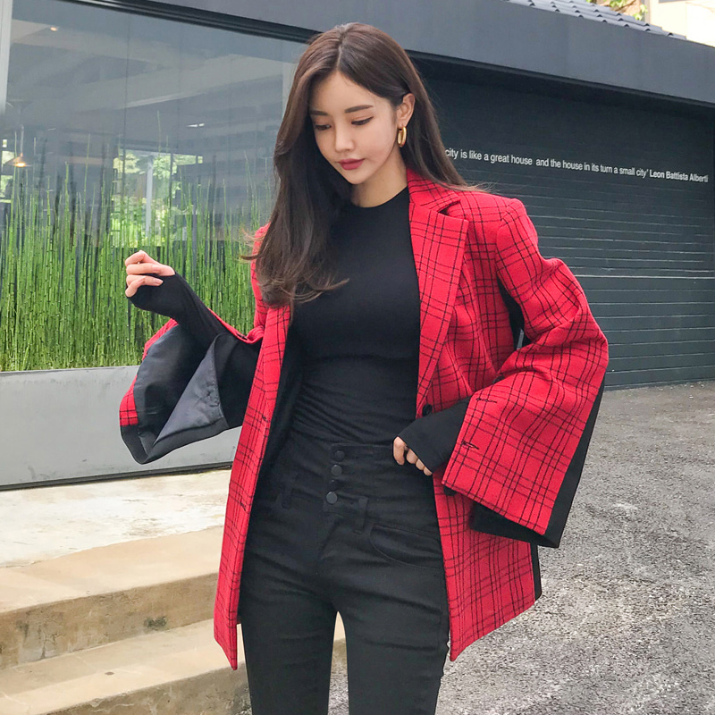 Red Plaid stitching small suit womens Korean version loose medium and long woolen coat spring new Plaid Wool Coat