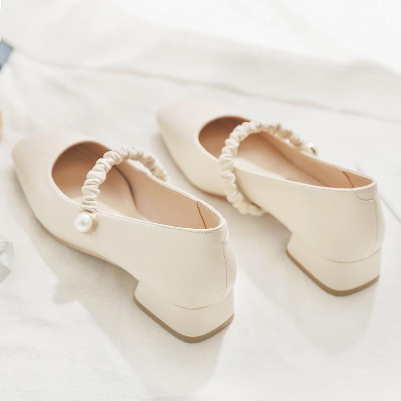 玛丽珍鞋2021年春季新款百搭方头晚晚鞋温柔风低跟粗跟仙女单鞋女