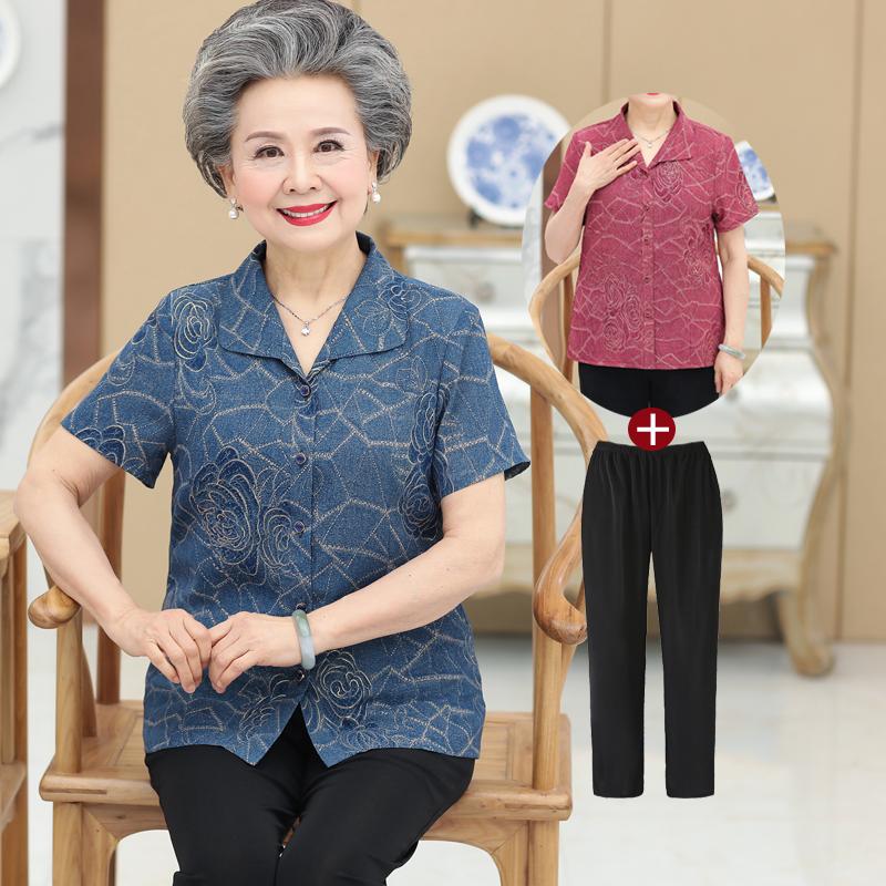 中老年人女装夏装妈妈装短袖上衣服裤子60-70-80岁奶奶装春装套装
