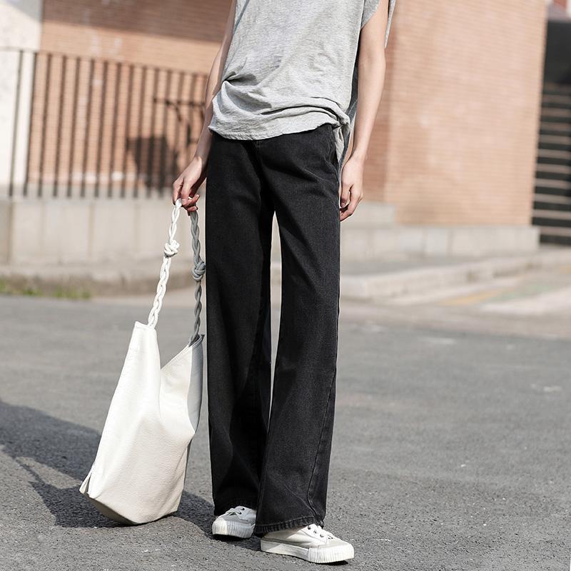 实拍#夏季新款杏色泫雅同款黑色阔腿拖地长裤纯色