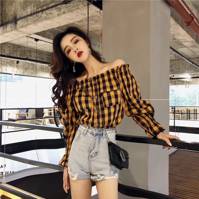 New chic Plaid one line collar shirt early autumn top womens Hong Kong style long sleeve off shoulder shirt