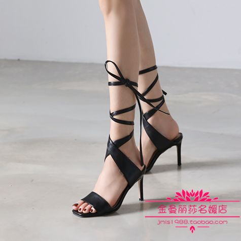 South Korea buys authentic 18 summer new celebrities fashion temperament queen ankle band hollow out high-heeled sandals