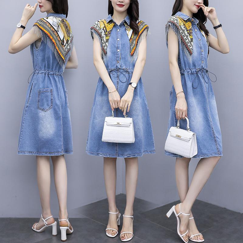 TS23400#大码女装夏季新款复古印花流苏拼接收腰时髦牛仔加衣裙