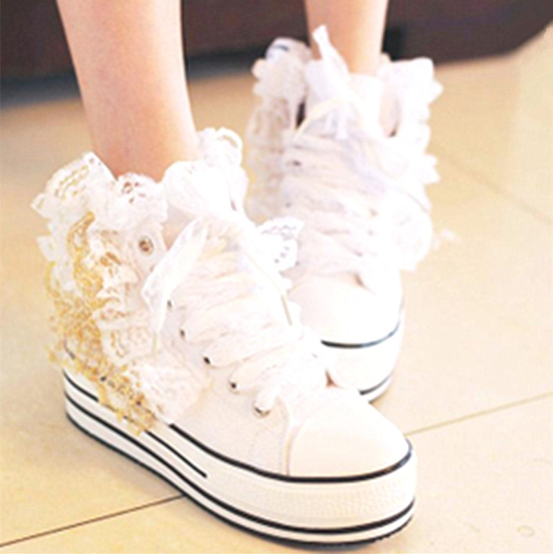 New Korean muffin bottom lace high top canvas shoes in spring of 2019