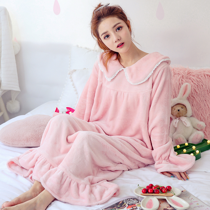 Coral velvet pajamas girl autumn winter Korean Nightgown student long thick flannel nightdress home wear winter