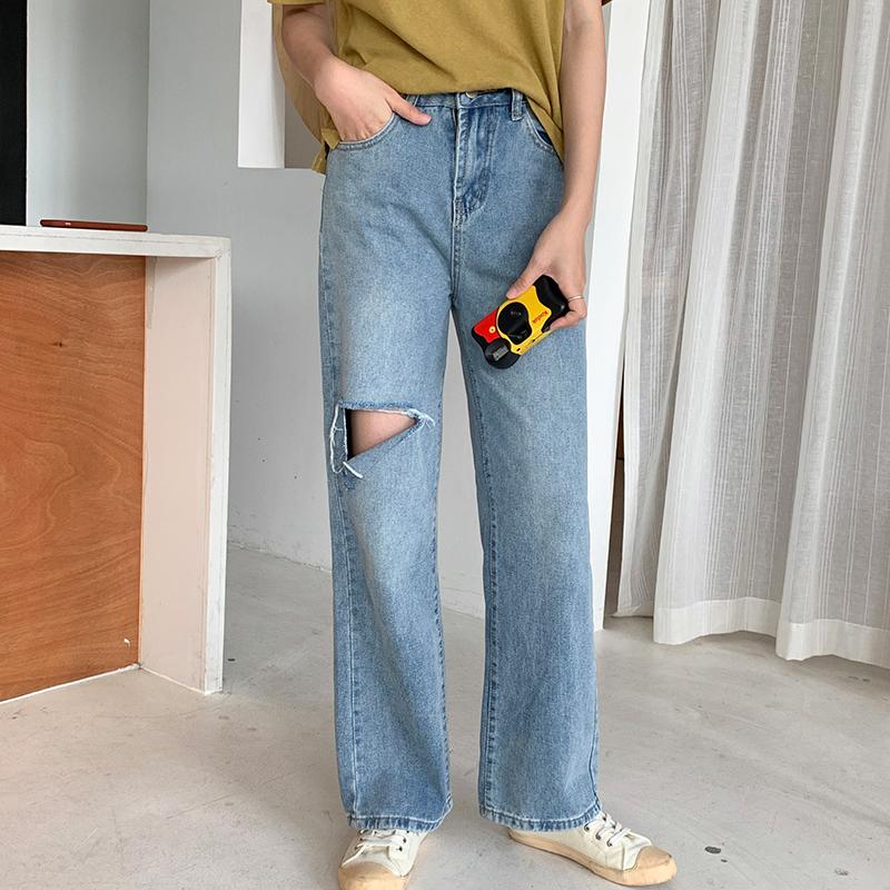 港风宽松高腰直筒破洞牛仔长裤子(非品牌)