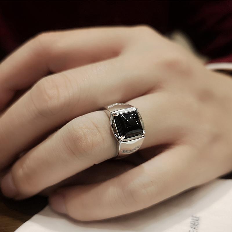 ins戒指男潮纯银简约轻奢食指嘻哈个姓玛瑙原创设计霸气开口指环